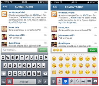 emoticons no aplicativo instagram