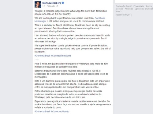 pagina oficial mark zuckerberg bloqueio do whatsapp