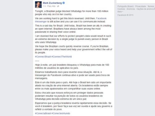 pagina oficial mark zuckerberg bloqueio do whatsapp